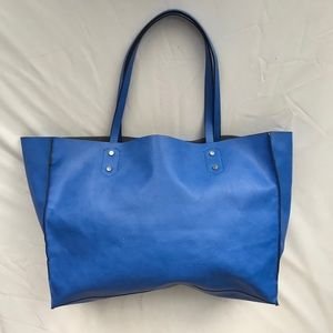 Zara Reclaimed Leather Blue Tote Bag Carryall